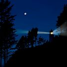 Moon over Heceta Head Light. by Alex Preiss