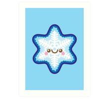 Cute Kawaii Christmas Snowflake Art Print