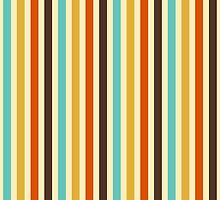 Vertical Stripes Retro Colors Blue Yellow Red by sumwoman