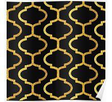 Gold mughal lattice Pattern Poster