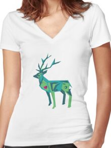 Abstract vector stag Women's Fitted V-Neck T-Shirt
