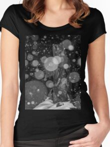 Spirit Bear in Snowstorm Women's Fitted Scoop T-Shirt