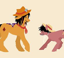 Luffy and Ace ponies by OwlBurger