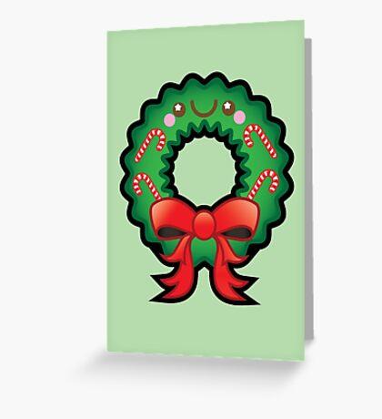 Cute Kawaii Christmas Wreath Greeting Card