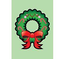 Cute Kawaii Christmas Wreath Photographic Print