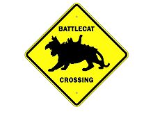 Battlecat Crossing Road Sign Photographic Print