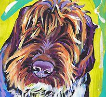 Spinone Italiano Bright colorful pop dog art by bentnotbroken11