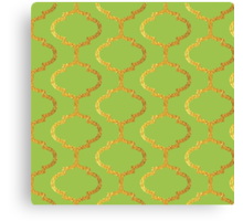 Mughal on acid green lattice Pattern Canvas Print