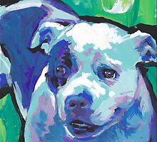 staffordshire Bull Terrier Bright colorful pop dog art by bentnotbroken11