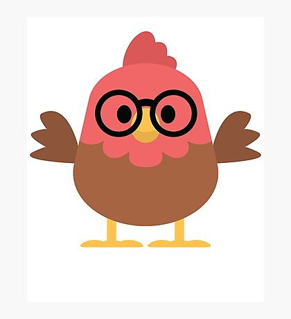 Cute Rooster Emoji Nerd Noob Glasses Face Photographic Print