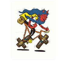 Satan rides  fixie! Art Print
