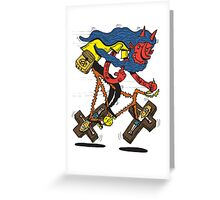 Satan rides  fixie! Greeting Card