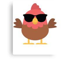 Cute Rooster Emoji Cool Sunglasses Face Canvas Print