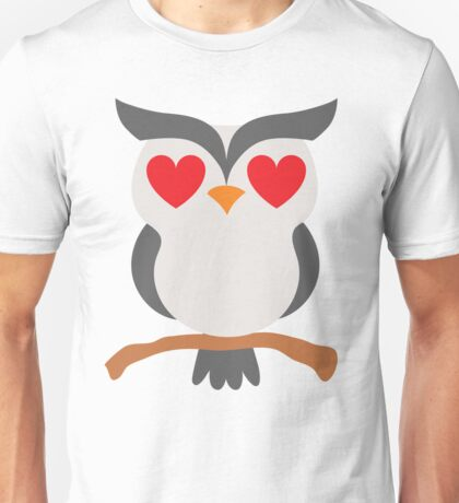 Night Owl Emoji Heart and Love Eyes Unisex T-Shirt