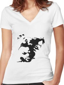 Ink stain Crazy Women's Fitted V-Neck T-Shirt
