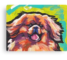 Tibetan Spaniel Bright colorful pop dog art Canvas Print