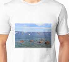 6 August 2016 Boats in the water in the Bay of Portofino, province of Genoa, in Liguria, northern Italy Unisex T-Shirt