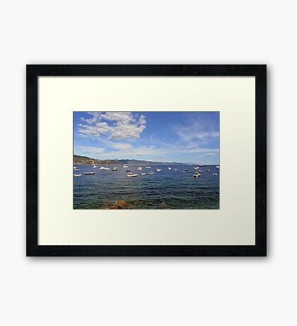 6 August 2016 Boats in the water in the Bay of Portofino, province of Genoa, in Liguria, northern Italy Framed Print