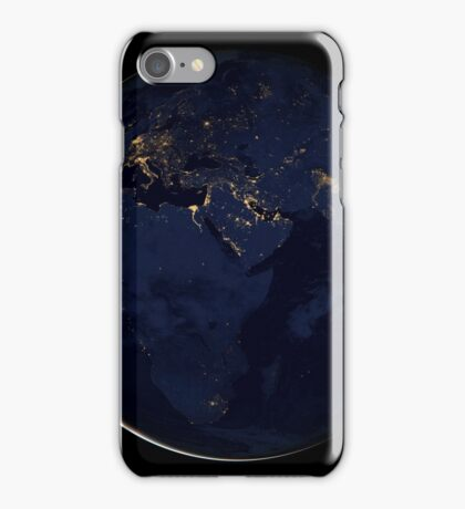 Full Earth showing city lights of Africa, Europe, and the Middle East. iPhone Case/Skin