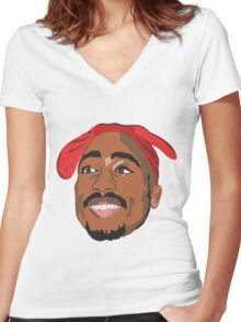 Tupac Women's Fitted V-Neck T-Shirt