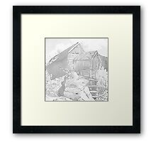 Mill Gray - Pencil Black and White Framed Print