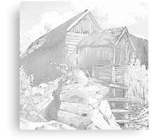 Mill Gray - Pencil Black and White Canvas Print