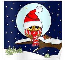Baby wl with oversized Santa hat and red scarf Poster