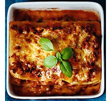 Top View of Hot Tasty Freshly Baked Lasagna  Photographic Print