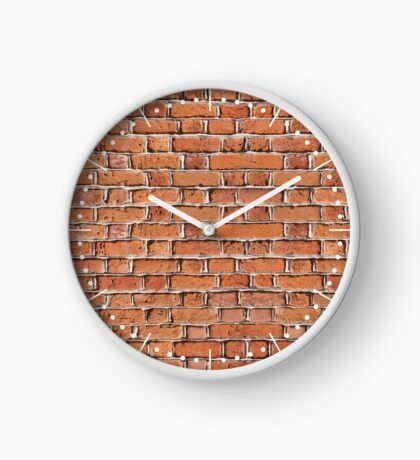 Red bricks wall texture Clock