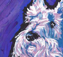 White Scottish Terrier Bright colorful pop dog art by bentnotbroken11