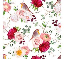 Natural vector seamless pattern with cute robin birds and bouquets of peachy roses, white and burgundy red peony, orchid, eucalyptus, green plants mix and ranunculus in japanese style Photographic Print