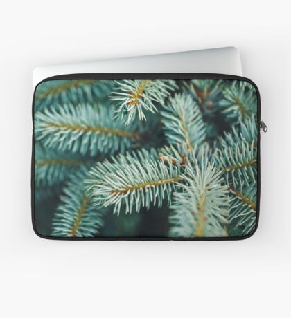 Blue Fir Tree Branches Close-up Laptop Sleeve