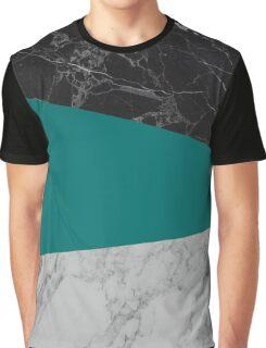 Black-White-Blue Marble Graphic T-Shirt