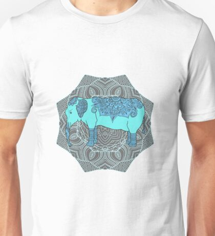 Elephant, mandala background Unisex T-Shirt