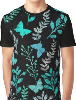 Watercolor Floral and Butterfly III Graphic T-Shirt