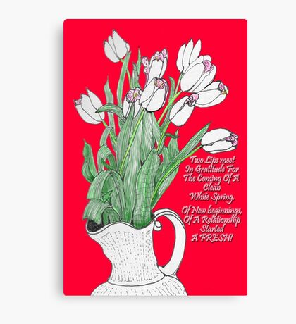 A pitcher of Tulips Canvas Print