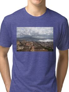 Naples Italy Aerial Perspective - God Rays Clouds and Vistas Tri-blend T-Shirt