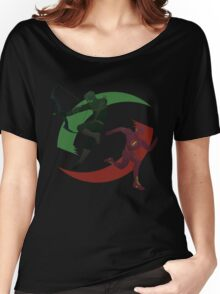 Green and Red Women's Relaxed Fit T-Shirt