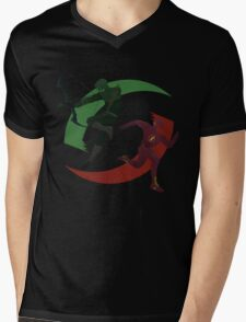 Green and Red Mens V-Neck T-Shirt