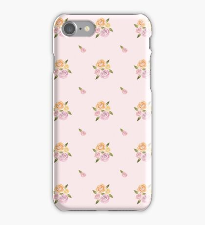 Sweet Roses on a Pink Background ~ Handpainted Watercolor Flowers iPhone Case/Skin