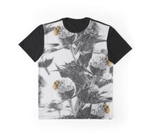 Black and white thistle and yellow bumblebee Graphic T-Shirt
