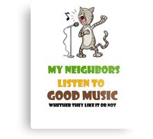 Music lovers, cool design with singing cat Metal Print