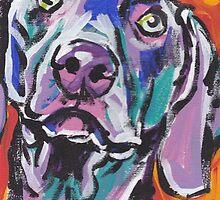 Weimaraner Dog Bright colorful pop dog art by bentnotbroken11
