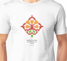 Barcelona Hydraulic Tile Orange Flowers Unisex T-Shirt