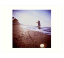 Boy running on beach square Lubitel lomo lomographic lomography medium format  color film analogue photo Art Print
