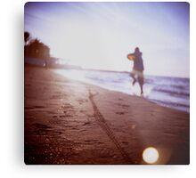 Boy running on beach square Lubitel lomo lomographic lomography medium format  color film analogue photo Metal Print