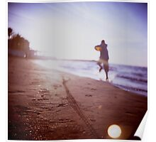 Boy running on beach square Lubitel lomo lomographic lomography medium format  color film analogue photo Poster