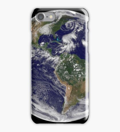 View of the full Earth and four storm systems. iPhone Case/Skin