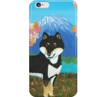 Kuro Shiba Sakura & Mt. Fuji iPhone Case/Skin