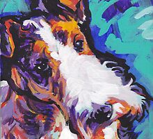 Wire Fox Terrier Bright colorful pop dog art by bentnotbroken11